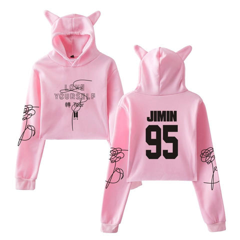 KPOP BTS Bangtan Boys Army  Kawaii long-sleeved umbilical cat ears hoodies sweatshirt  Harajuku ladies sexy exposed cute women crop top hoodeies AT_89_10