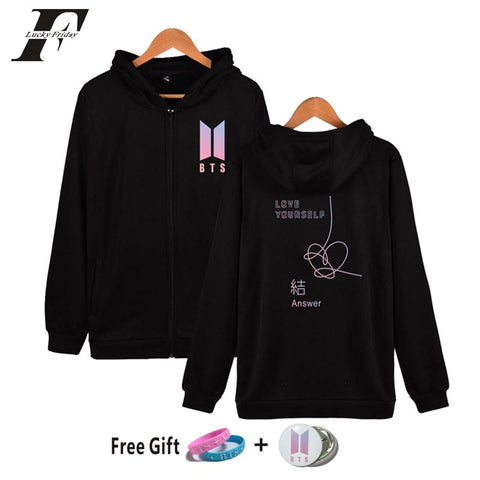 KPOP BTS Bangtan Boys Army 2018  Love Yourself Answer Cap   zipper oversizedl hoodie sweatshirt women men tracksuitK-pop moletom Fans Clothes AT_89_10