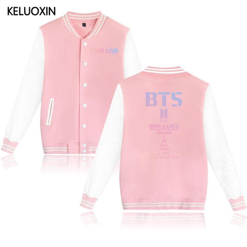 KPOP BTS Bangtan Boys Army KELUOXIN   FAKE LOVE New Album Baseball Jackets Couples  Boys SUGA JIMIN/V/JUNG KOOK Fans Hoodies Women Men AT_89_10