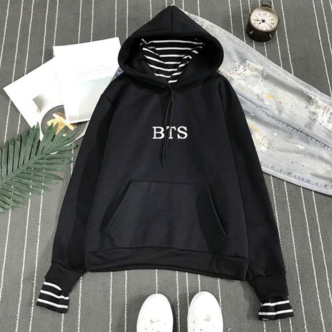 KPOP BTS Bangtan Boys Army  2018 NEW Fake Two-piece Hooded Sweatshirts Women Funny Hoodie Sweatshirt Female Hip-hop Clothes For  Fans AT_89_10