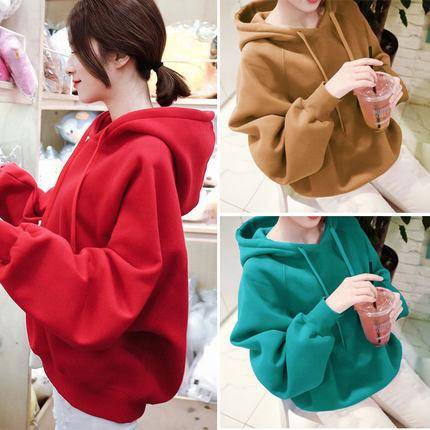 KPOP BTS Bangtan Boys Army   red autumn loose winter Plus velvet cotton blue hoodies women  NEW korean hooded harajuku sweatshirt women clothes AT_89_10