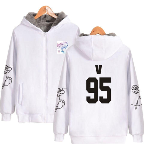 KPOP BTS Bangtan Boys Army  K-pop Thicker Hoodie Sweatshirt Zipper Face Yourself Fashion Sweatshirt  Boys Winter Warm Clothes AT_89_10
