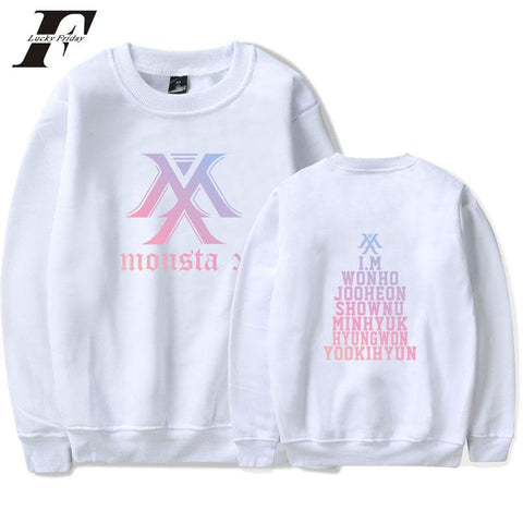 KPOP BTS Bangtan Boys Army  2018 MONSTA X capless cotton HOODIES Sweatshirts women Harajuku  Winter Long Sleeve  Hooded Tracksuit Pullovers clothes AT_89_10