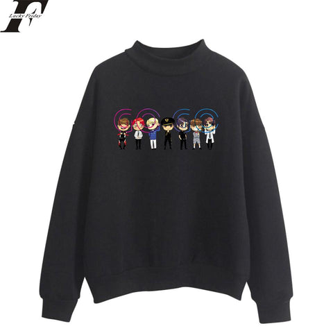 KPOP BTS Bangtan Boys Army K-pop LUCKYFRIDAYF 2018  GOGO Spring Turtlenecks Hoodies Sweatshirts Women/Men Outdoors Style Print Sweatshirts Plus Size 4XL AT_89_10