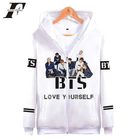 KPOP BTS Bangtan Boys Army 2018   3D zipper Hoodies sweatshirts women men LOVE YOURSELF  Boys Long Sleeve Funny Hoodies tops Soft Clothes AT_89_10
