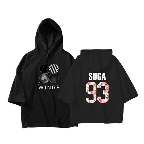 KPOP BTS Bangtan Boys Army  Suga  Korean Fashion   Boys Album WINGS Cotton Thin Three Quarter Hoodies Pullovers Hoodies Sweatshirts Women AT_89_10