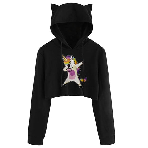 KPOP BTS Bangtan Boys Army Cat Hooded Pullover Crop Tops Clothes  Album Love Yourself Tear Fake Love  Long Sleeve Cropped Hoodies Sweatshirt Women AT_89_10