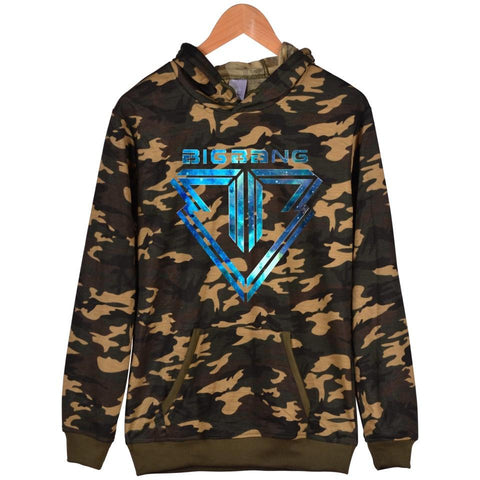 KPOP BTS Bangtan Boys Army Fashion  New Pringting Bigbang Camouflage Men/Women Hoodies Plus Size And XXS Bigbang Harajuku GD Sweatshirt With Cap Clothes AT_89_10