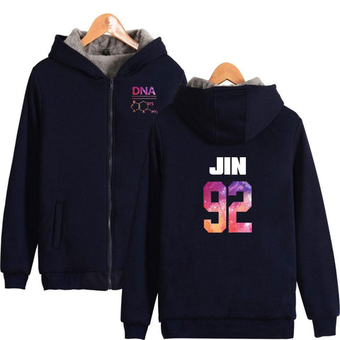 KPOP BTS Bangtan Boys Army  K-Pop  Boys Album DNA  Forever Fashion Boys Thicker Hoodie Sweatshirt Zipper Sweatshirt Winter Warm Clothes AT_89_10