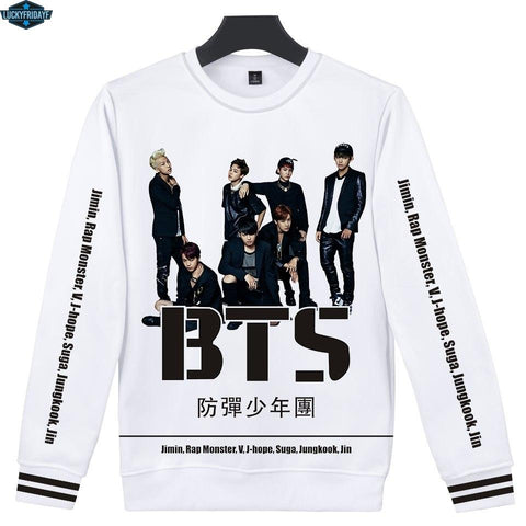 KPOP BTS Bangtan Boys Army LUCKYFRIDAYF 3D    Sweatshirt Women Korea  K-pop Harajuku Hoodie Sweatshirt Hip Hop Fashion 3D Female Fan Clothes AT_89_10