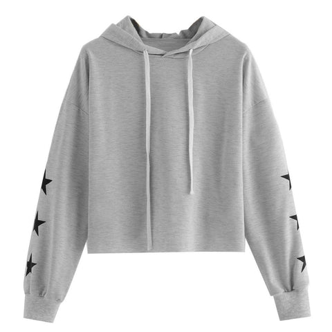 KPOP BTS Bangtan Boys Army FeiTong Simple Cropped Hoodies Women Gray Sexy Casual  Hoodie Sweatshirt 2018 Autumn Long Sleeves Brief Basic Sweatshirts AT_89_10
