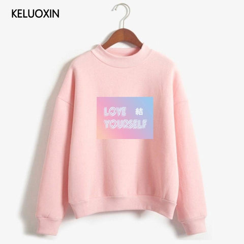 KPOP BTS Bangtan Boys Army KELUOXIN   Loose Turtleneck Sweatshirt Women Love Yourself Answer Pullovers  Boys Fans Capless Sudadera Mujer AT_89_10