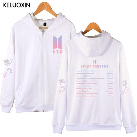 KPOP BTS Bangtan Boys Army KELUOXIN  Love Yourself Zipper Fleece Sweatshirt  2018 WORLD TOUR Concert List Hoodie Women Men  Boys Fans Clothes AT_89_10