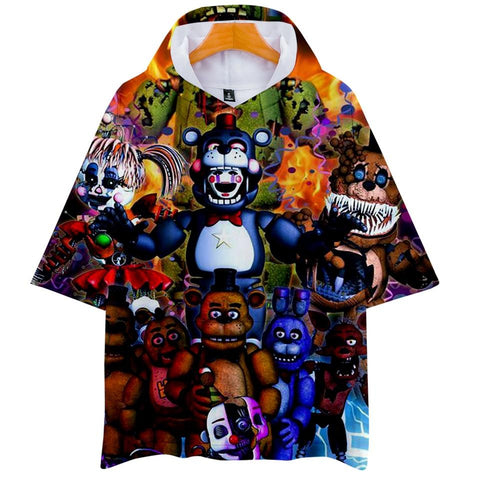 LUCKYFRIDAYF 3D  at Freddy Hoodies Women/Men Clothes 2018 Short Sleeve Hooded Hip Hop Tops Kpop Plus Size Q-1910-YH09