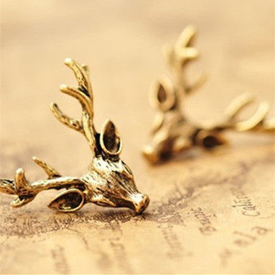 2015 Fashion Vintage Cheap Original Design Stud Earrings Wholesale Punk Retro Bronze Animal Deer Head Deer Antler Earrings Woman