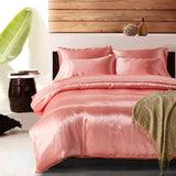 Cool Luxury Pink Satin Silk Bedding Set Queen King Size Printing Pillowcase Duvet Cover Sets Silk  Bedroom Sleeping ProductsAT_93_12