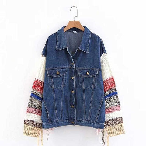 Trendy Women Patchwork Long Sleeve Denim Jacket Lady Turn-down Collar Single-Breasted Vintage Oversized Jacket Casual Autumn Outerwear AT_94_13