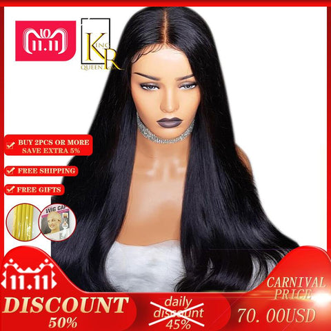 Cool 13*6 Lace Front Human Hair Wigs For Women Straight Lace Wig Full End Brazilian Remy Hair Black Color Pre Plucked With HairlineAT_93_12