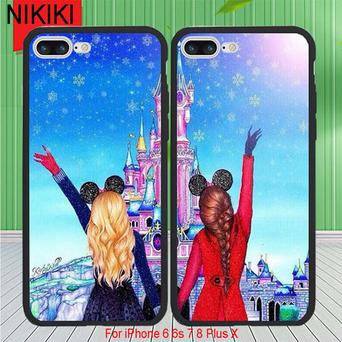 save off f42e0 9962b ciciber Best Friends BFF Phone Cases For iPhone 8 7 Plus 6 6s X Soft TPU  Silicon Frame & Hard PC Lovely Beautiful Cover