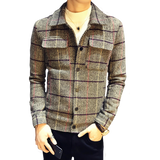 Trendy Casual male Slim Korean version of the autumn winter new wild grid men's Short wool jacket handsome British coats trend AT_94_13