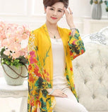 Trendy New 2018 Woman Plus Size 4xl Thin Jacket Summer Fashion 3/4 Sleeve Vintage Floral Print Coat Women Medium Long Chiffon Outerwear AT_94_13