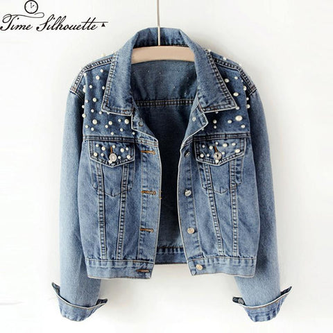 Trendy Spring Autumn Women Short Denim Coat Basic Coats 2018 Jacket Pearls Beading Kpop Jeans Coat Loose Long Sleeve Jackets L883 AT_94_13