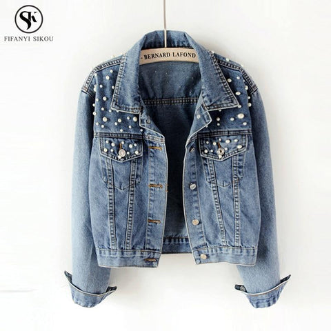 Trendy 2018 Spring Basic Coat Women Denim Jacket Pearls Beading Kpop Jeans Coat Loose Casual Plus size Long Sleeve Jackets LGP46 AT_94_13