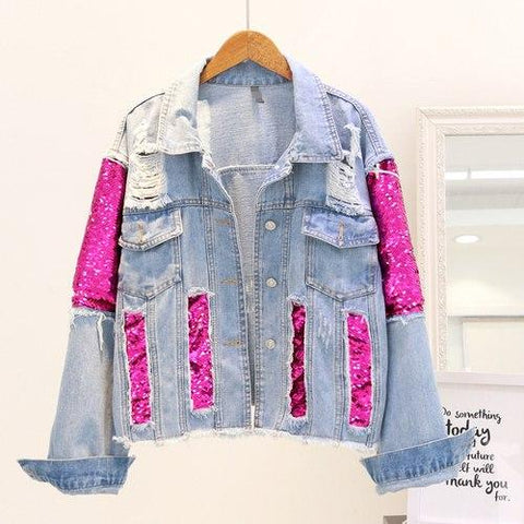 Trendy 2018 Autumn New holes Jeans Jacket Women's Fashion Sequin Spliced Denim Jacket Female Fall Casual Short Jacket Coats Streetwear AT_94_13