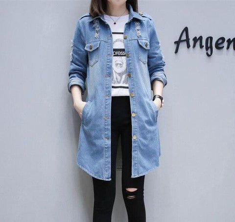 Trendy Autumn Winter Long Women Hole Denim Jacket 2018 Harajuku Boyfriend Wind Jean Jacket Loose Long Sleeve Female Coats Hot Sale AT_94_13