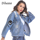 Trendy Dilusoo Women Letter Embroidery Denim Short Jackets Autumn Loose Basic Coats Holes Women' Streetwear Winter Coat Casual Jacket AT_94_13
