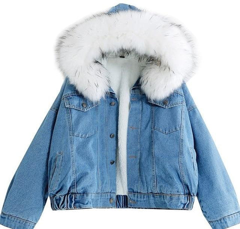 Trendy 2019 Hooded Warm Winter Bomber Women Spring Autumn Coat Jeans Denim Jackets Basic Ladies Windbreaker Female Large AT_94_13