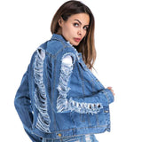 Trendy 2018 Jackets Women Casacos Feminino Slim Ripped Holes Denim Coats Jacket Femme Elegant Vintage Bomber Jacket 2018 Basic Coats AT_94_13