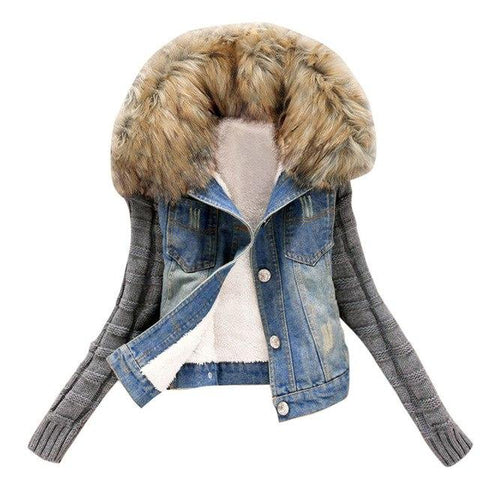 Trendy Women Winter Warm Jeans Coat Fashion Womens Button Knit Sleeve Cowboy Denim Pockets Jacket Coat jaqueta feminina Outwear SA60 AT_94_13