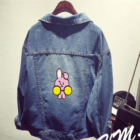 Trendy Kpop Bantan Boys BT21 BTS Denim Jeans Cartoon CHIMMY COOKY TATA KOYA Same Women Bomber Autumn Winter Denim Jacket Coats AT_94_13