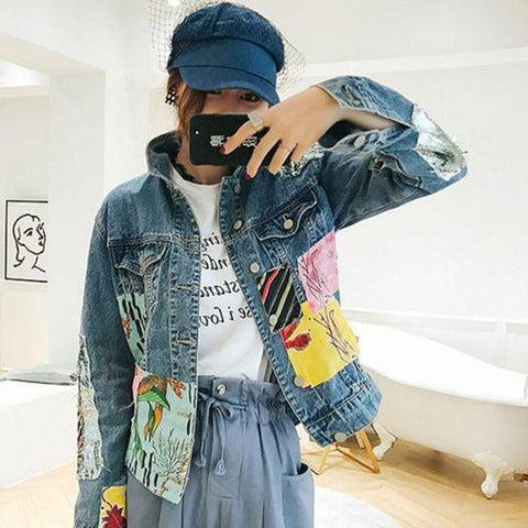 Trendy Denim Jacket Coat Women Autumn 2018 Hot Sale Cartoon Print High Street Fashion Outerwear Female Loose Retro Casual Cropped Top AT_94_13