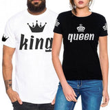 Trendy T-shirt Men and Women Fashion Casual Couples Crown Printing King Queen Short Sleeves T-shirt Summer Tops AT_94_13