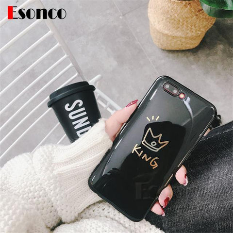 Cool King & Queen Crown Soft Case For iPhone 7 8 X 6 6 s 7 Plus Cases Lover Silicone Rubber Phone Case For iPhone X 6 6s 8 Plus CaseAT_93_12