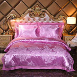 Cool Jacquard Bedding Set Luxury Satin Bed Set 4pcs Embroidered Duvet/Quilt Cover Bed Sheet Linen Pillowcases Queen King SizeAT_93_12