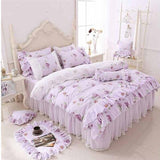 Cool 100% cotton Floral printed princess bedding set twin king queen size 4/6pcs Pink girls lace duvet cover set Bedspread bed skirtAT_93_12