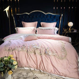 Cool Pink luxury Exquisite Royal Embroidery 80S Egyptian Cotton Bedding Set Duvet Cover Bed sheet Pillowcases Queen King Size 4/7pcsAT_93_12