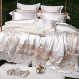 Cool Luxury white 100% silk cotton Royal embroidery Bedding Set Duvet Cover Bed Linen Bed sheet Pillowcases King Queen Size 4/7pcsAT_93_12