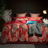 Cool 100S Egyptian cotton Bohemia luxury Bedding Set king queen double size bed cover set Bedsheets Duvet quilt Cover set  pillowcaseAT_93_12