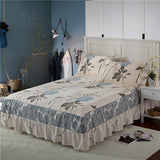 Cool Beautiful Flowers Printed Cotton Bedspread Bed Skirt Thick Fitted Sheet Adults Twin Full Queen King Size Cover Princess BedsheetAT_93_12