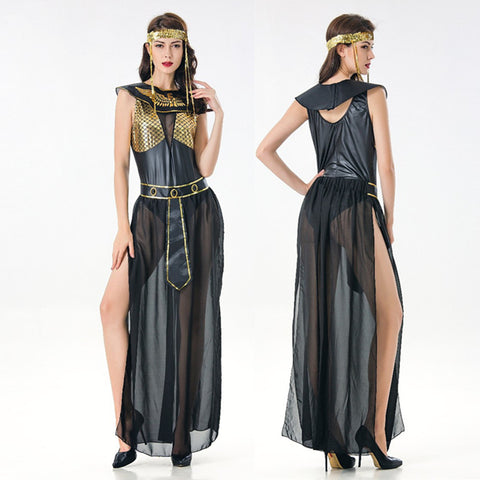 86b9a87600f19 Deluxe Cleopatra Costume Sexy Women Ancient Egyptian Pharaoh Clothing Adult  Halloween Party Cosplay Egypt Queen Long Dress