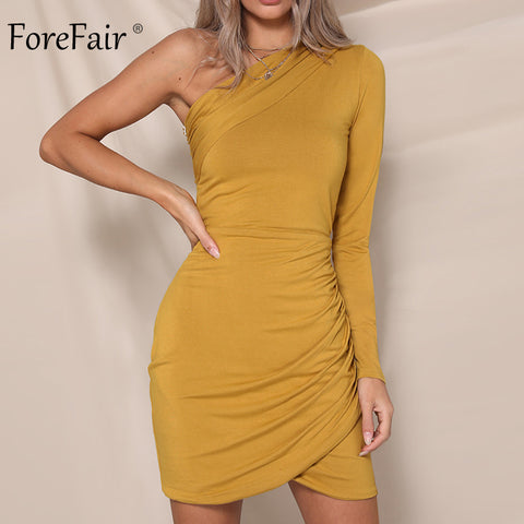 84d823ca73c Forefair Women One Shoulder Party Dress Autumn 2018 Ruched Long Sleeve Sexy  Dress Female Winter Bodycon Dress