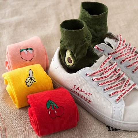 1 Pair Cute Fruit Embroidery Women Loose Socks Avocado/Banana/Cherry/Peach Japan Harajuku Kawaii Funny Women Crew Socks