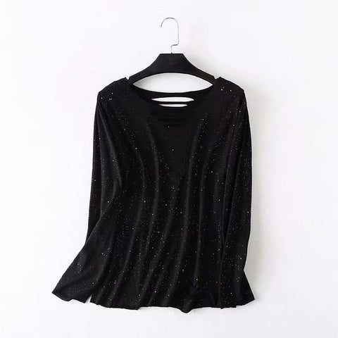 a13ea45f997 Plus size cotton hollow out black t shirts women O-Neck long sleeve ts –  2018 AT 142 30 (Animetee.com Friends)