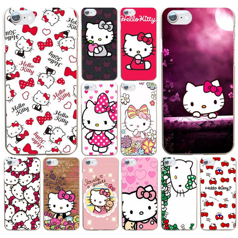 064AA  Fashionable Hello Kitty Hard Transparent Cover Case for iphone 4 4s 5 5s se 6 6s 8 plus 7 7 Plus X