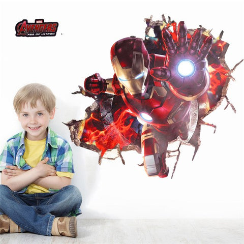 % 3d effect iron man hero through wall stickers for kids rooms nursery wall art decals decor The Avengers wallpaper diy poster