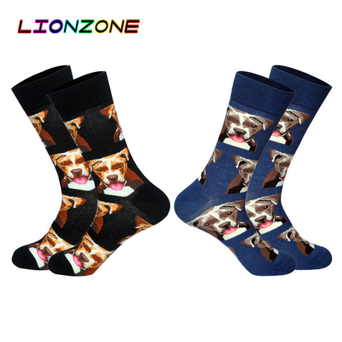 LIONZONE 2Pairs/Lot Hot Brand Men Socks with Funny 3D Pet Dogs Pugs Hounds Wedding Gift Streetwear Cotton Happy Socks